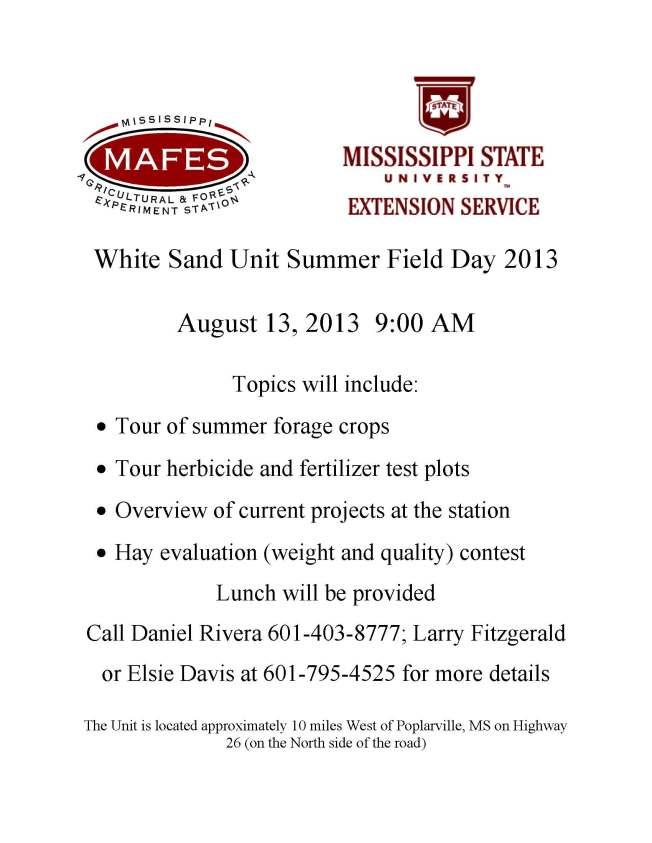 White Sand Unit Summer Field Day 2013_Flyer